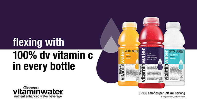 flexing with 100% dv vitamin c in every bottle. 0-130 calories per 591 mL serving.