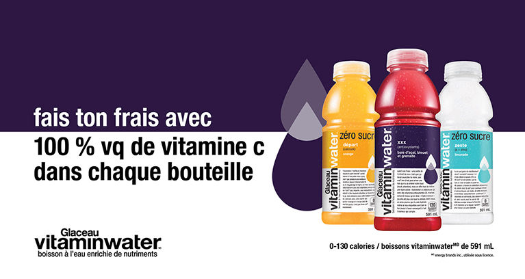 fais ton frais avec 100 % vq de vitamine c dans chaque bouteille. 0-130 calories / boissons vitaminwater(md) de 591 mL.